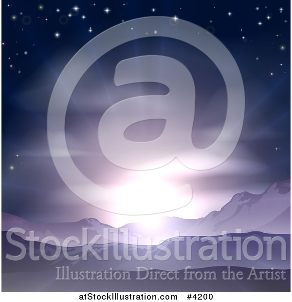 Vector Illustration of a Stunning Purple Sunrise or Sunset over Mountains