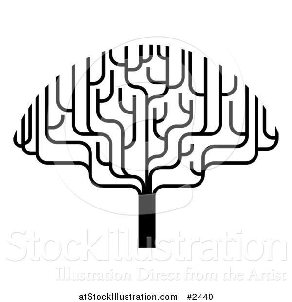 Vector Illustration of a Stylized Black and White Bare Tree