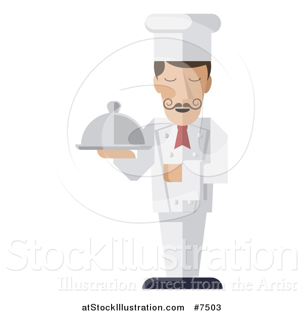 Vector Illustration of a Stylized Male Chef with a Curling Mustache, Standing with a Napkin Draped over His Arm and a Cloche Platter in Hand