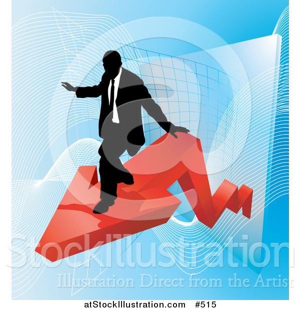 Vector Illustration of a Successful Businessman Riding on a Red Arrow As Revenue Increases