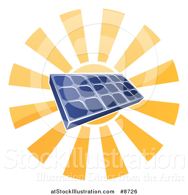 Vector Illustration of a Sun Shining Behind a Blue Solar Panel Photovoltaics Cell