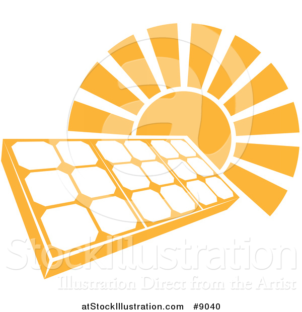 Vector Illustration of a Sun Shining Behind a Solar Panel Photovoltaics Cell