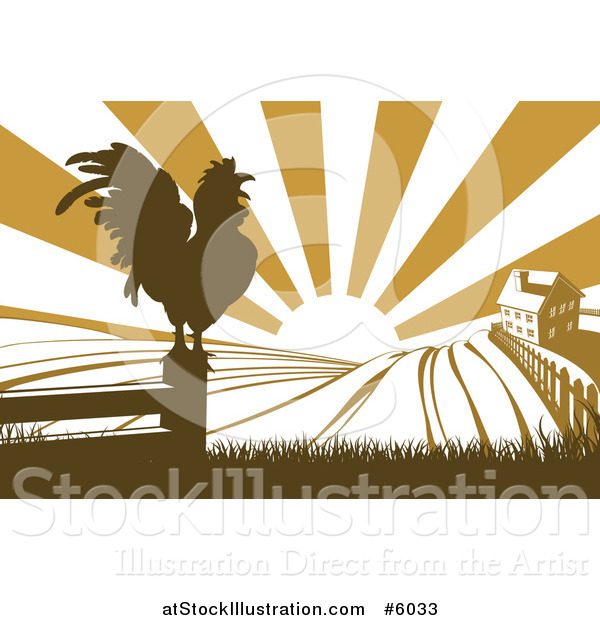 Vector Illustration of a Sunrise over a Brown Farm House with a Crowing Rooster and Fields