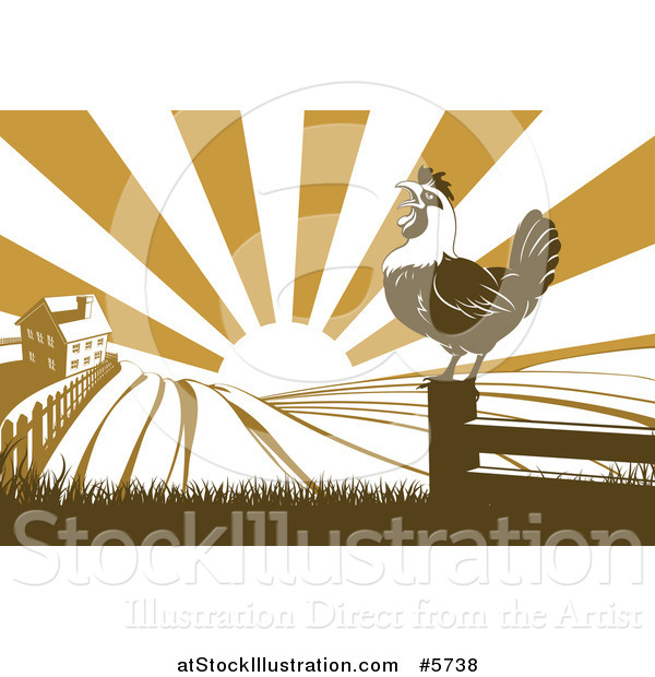 Vector Illustration of a Sunrise over a Brown Silhouetted Farm House with a Crowing Rooster and Fields