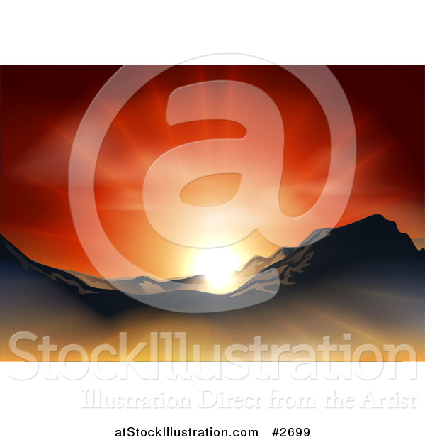 Vector Illustration of a Sunset over a Mountainous Landscape