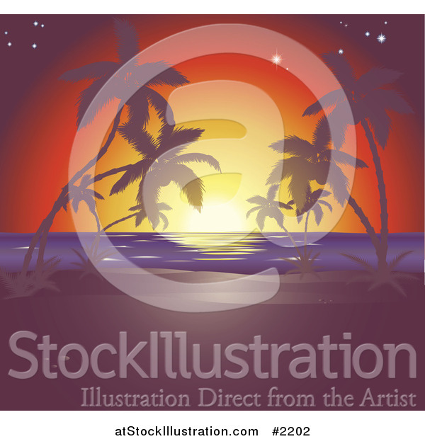 Vector Illustration of a Sunset Tropical Horizon