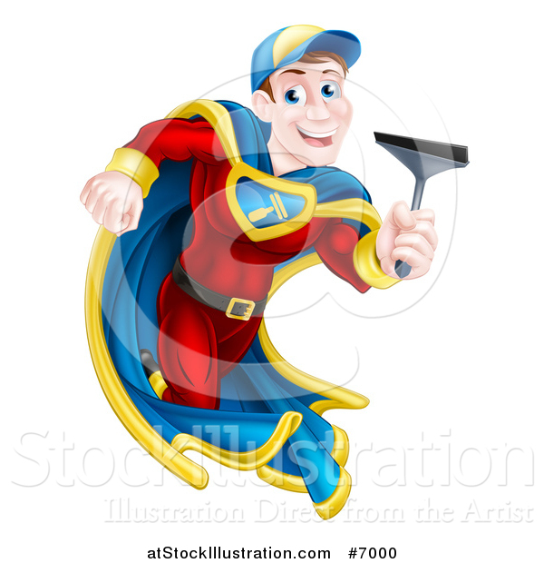 Vector Illustration of a Super Hero Brunette White Male Window Cleaner Running with a Squeegee