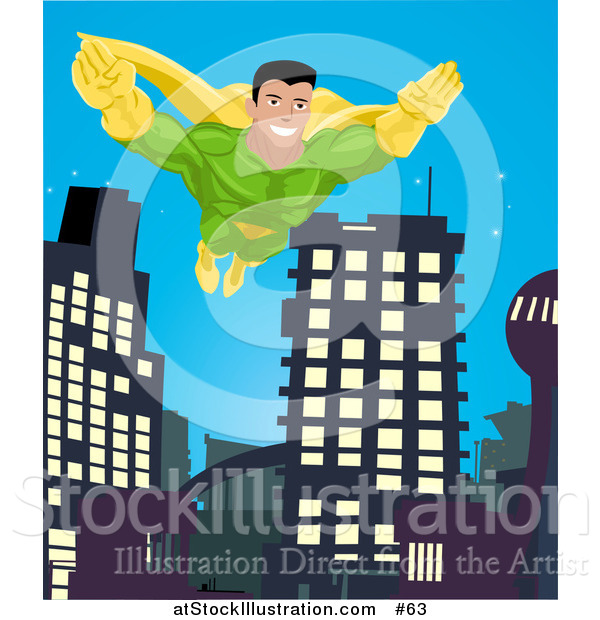 Vector Illustration of a Super Hero Man to the Rescue, Flying Through a City