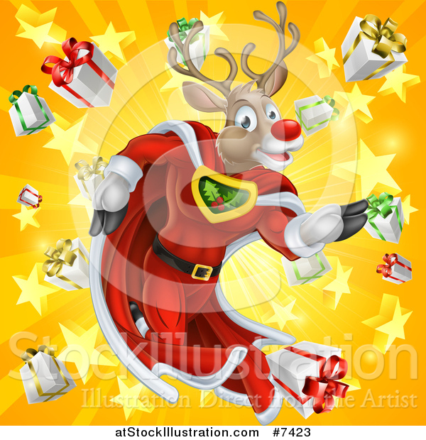 Vector Illustration of a Super Hero Rudolph Red Nosed Reindeer Running in a Cape over a Star and Gift Burst