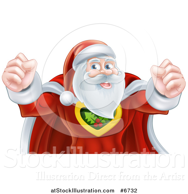 Vector Illustration of a Super Hero Santa Claus Flexing His Biceps
