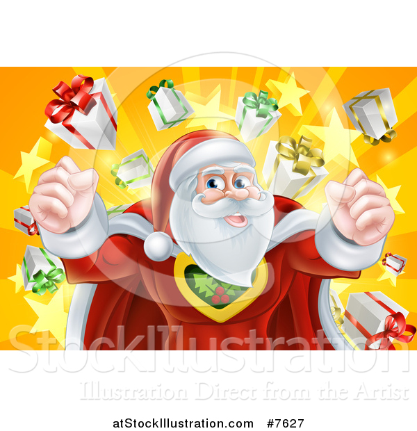 Vector Illustration of a Super Hero Santa Claus Flexing over a Star Burst with Gifts