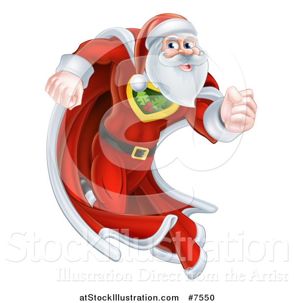Vector Illustration of a Super Hero Santa Claus Running in a Christmas Suit and Cape