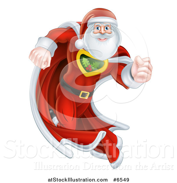 Vector Illustration of a Super Hero Santa Claus Running in a Christmas Suit