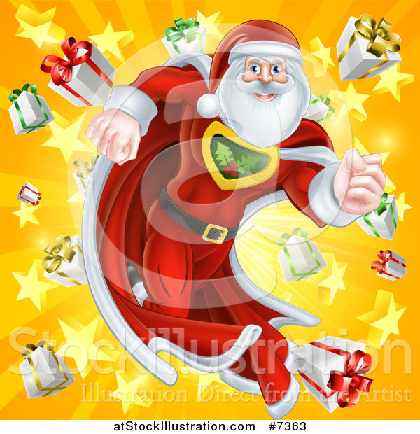 Vector Illustration of a Super Hero Santa Claus Running in a Christmas Suit over a Star Burst with Gifts 2