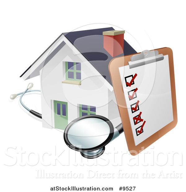 Vector Illustration of a Survey or Check List on a Clip Board and Stethoscope Against a 3d White Home