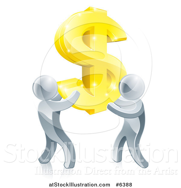Vector Illustration of a Team of 3d Silver Men Carrying a Giant Gold USD Dollar Symbol