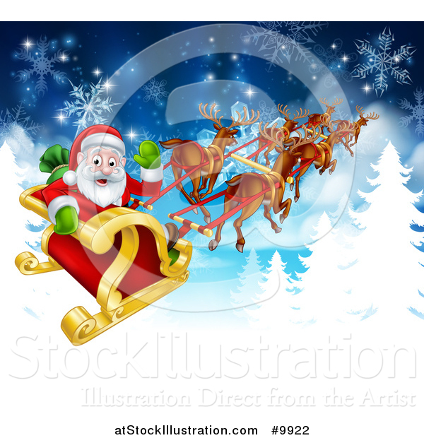 Vector Illustration of a Team of Magic Christmas Reindeer Flying Santa in the Snow