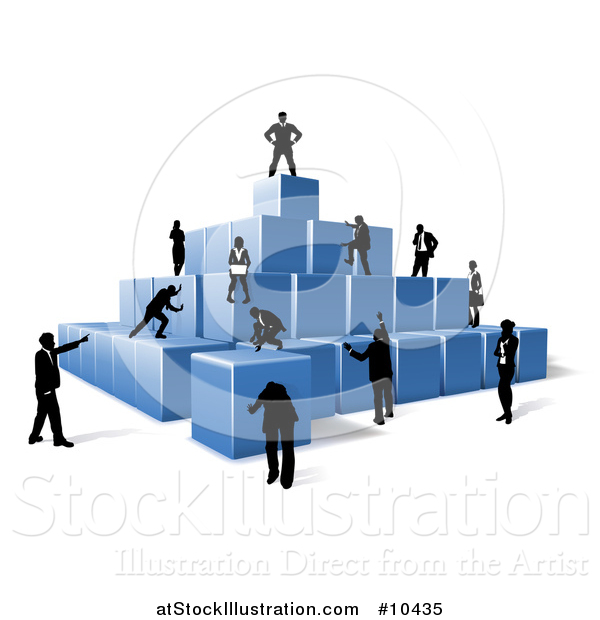 Vector Illustration of a Team of Silhouetted Business Men and Women Assembling a Pyramid of 3d Blue Cubes
