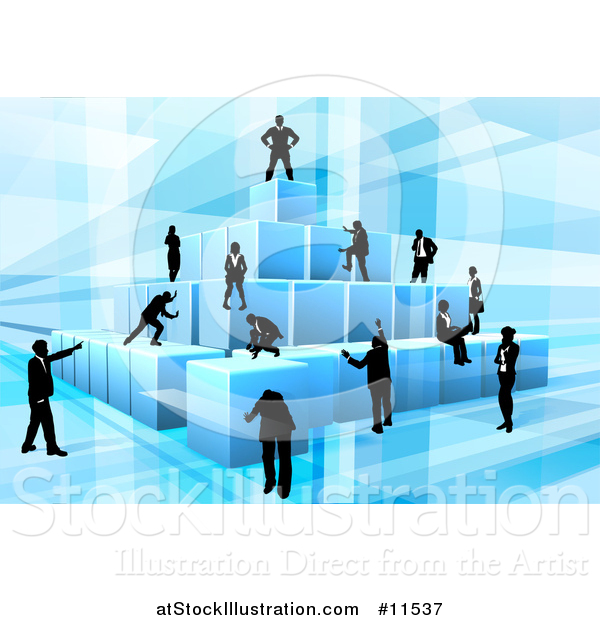 Vector Illustration of a Team of Silhouetted Business Men and Women Assembling a Pyramid of 3d Blue Cubes, on Blue
