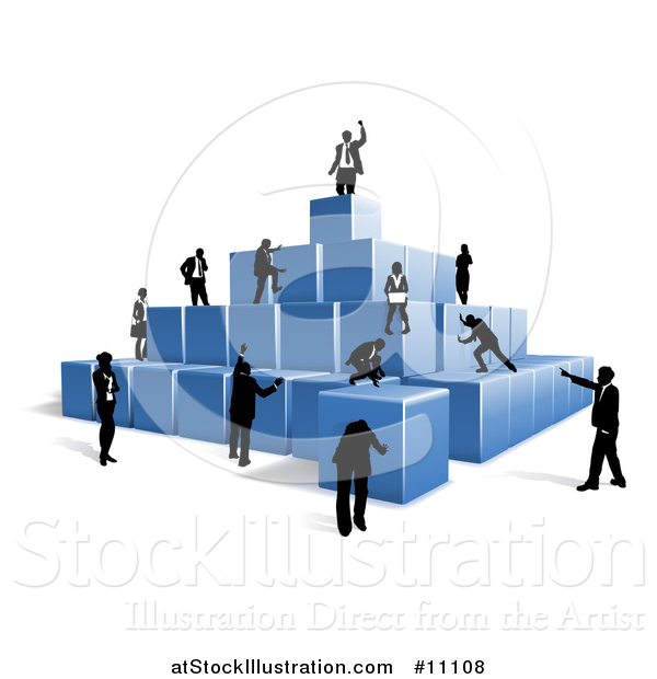 Vector Illustration of a Team of Silhouetted Business Men and Women Climbing a Pyramid of 3d Blue Cubes