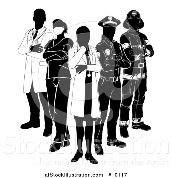 Vector Illustration of a Team of Silhouetted Emergency and Rescue Workers