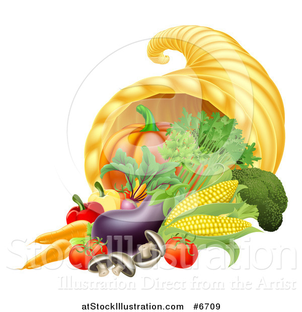 Vector Illustration of a Thanksgiving Fall Cornucopia Horn of Plenty with Produce