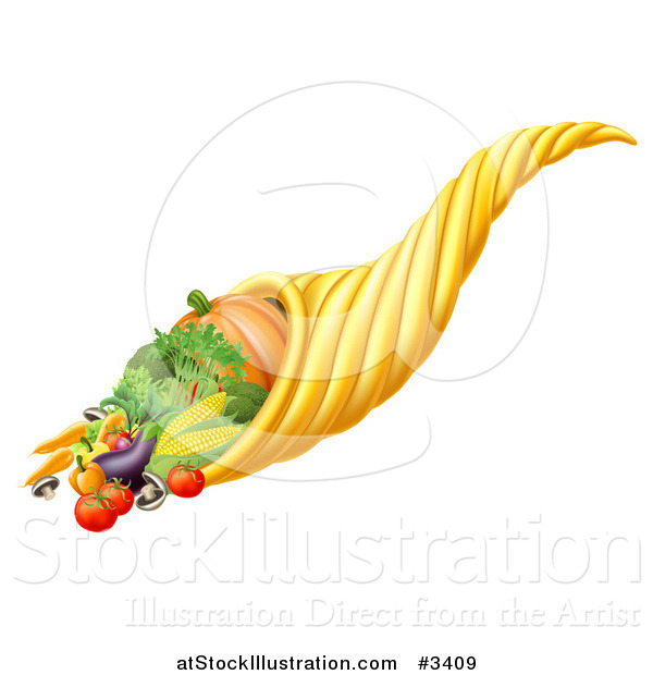 Vector Illustration of a Thanksgiving or Fall Cornucopia Horn of Plenty with Harvest Produce