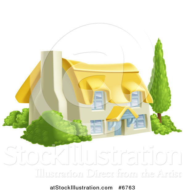 Vector Illustration of a Thatched Roof Cottage Farm House with Shrubs