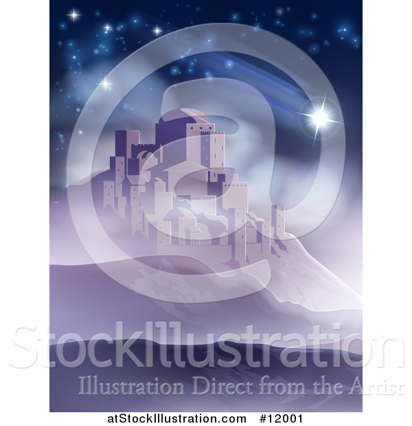 Vector Illustration of a the Star of David over Bethlehem