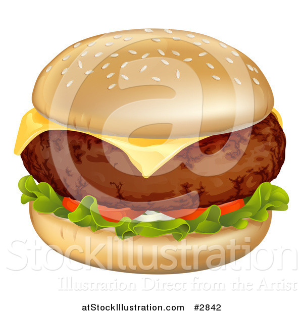 Vector Illustration of a Thick Cheeseburger with Melted Cheese