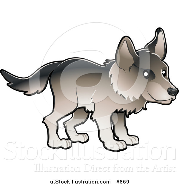 Vector Illustration of a Timber Wolf in Profile