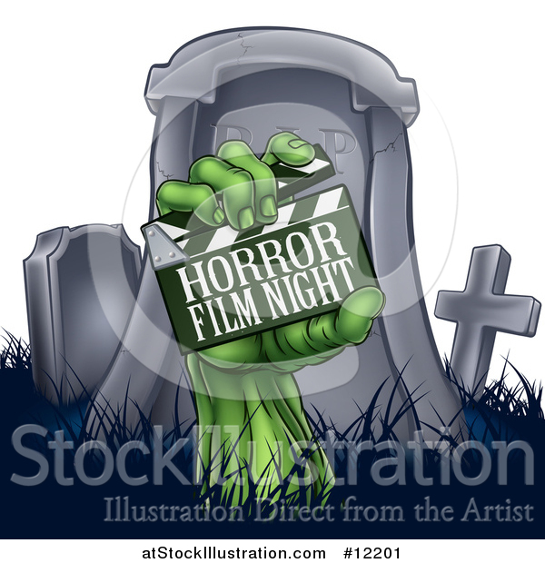Vector Illustration of a Tombstone and Zombie Hand with a Horror Film Night Clapper Board