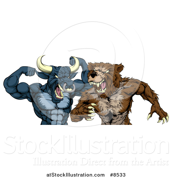 Vector Illustration of a Tough Aggressive Blue Bull Ready to Fight a Brown Bear