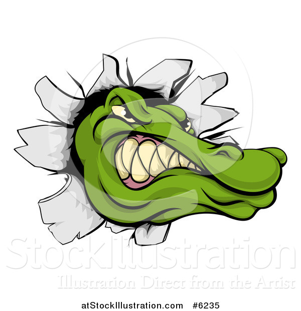Vector Illustration of a Tough Alligator or Crocodile Head Breaking Through a Wall