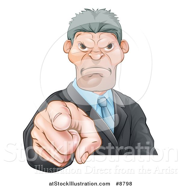 Vector Illustration of a Tough and Angry Caucasian Business Man Pointing Outwards, a Boss Pointing at an Employee