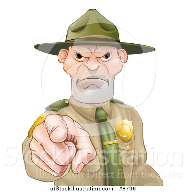 Vector Illustration of a Tough and Angry White Male Forest Ranger Pointing Outwards