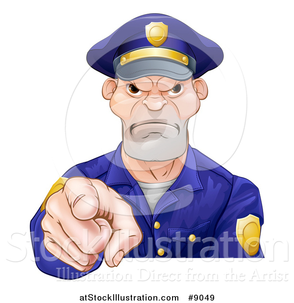 Vector Illustration of a Tough and Angry White Male Police Officer Pointing Outwards