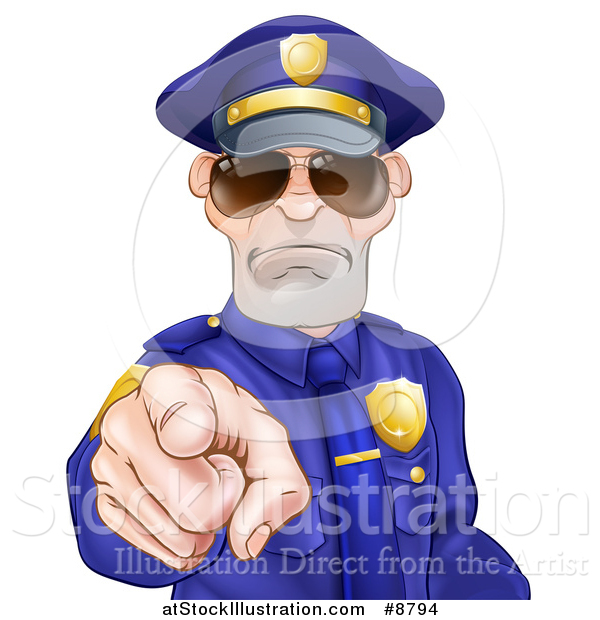 Vector Illustration of a Tough and Angry White Male Police Officer Wearing Sunglasses and Pointing Outwards