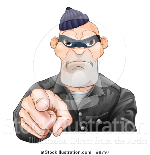 Vector Illustration of a Tough and Angry White Male Robber Pointing Outwards