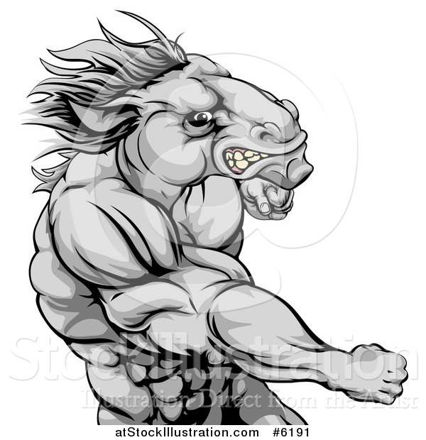 Vector Illustration of a Tough Angry Gray Muscular Horse Man Punching
