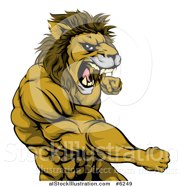 Vector Illustration of a Tough Angry Muscular Lion Man Punching and Roaring