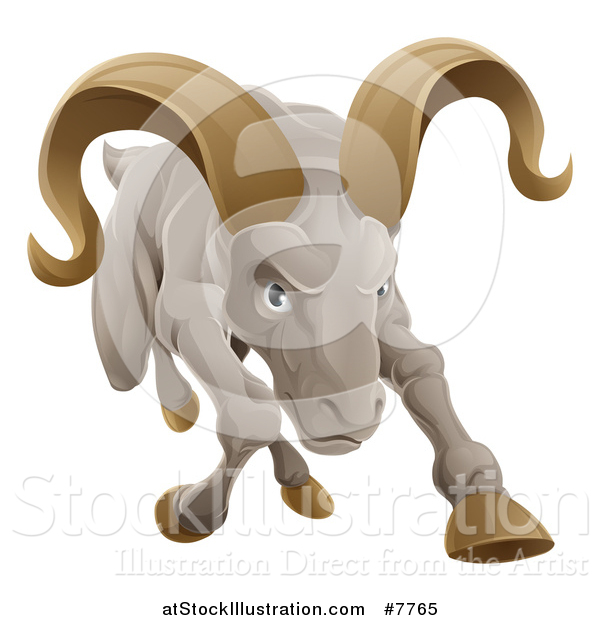 Vector Illustration of a Tough Angry Ram Sheep Charging Forward