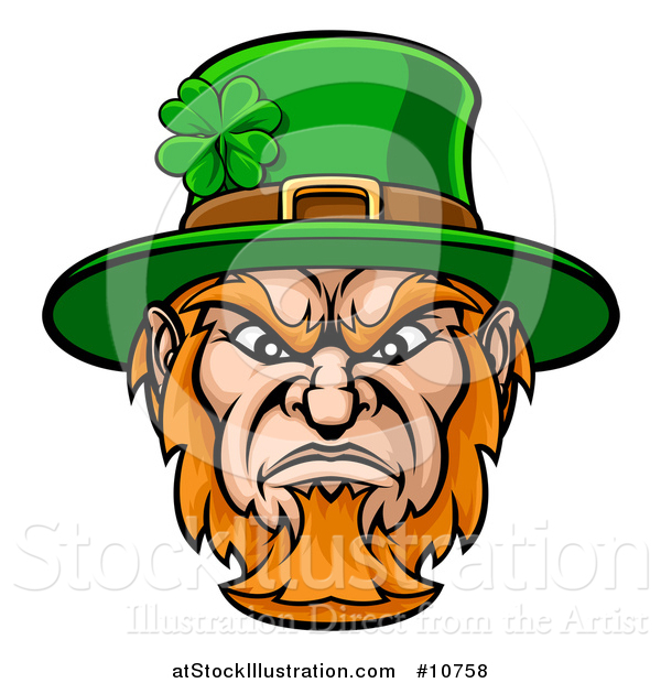 Vector Illustration of a Tough Angry St Patricks Day Leprechaun Mascot Face