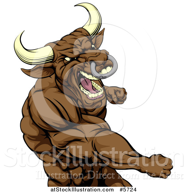 Vector Illustration of a Tough Brown Bull or Minotaur Mascot Punching