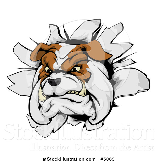 Vector Illustration of a Tough Bulldog Breaking Through a Wall