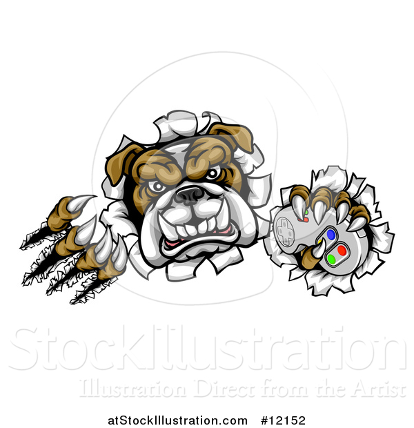 Vector Illustration of a Tough Bulldog Mascot Holding a Video Game Controller and Breaking Through a Wall