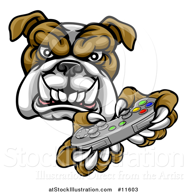 Vector Illustration of a Tough Bulldog Mascot Holding a Video Game Controller