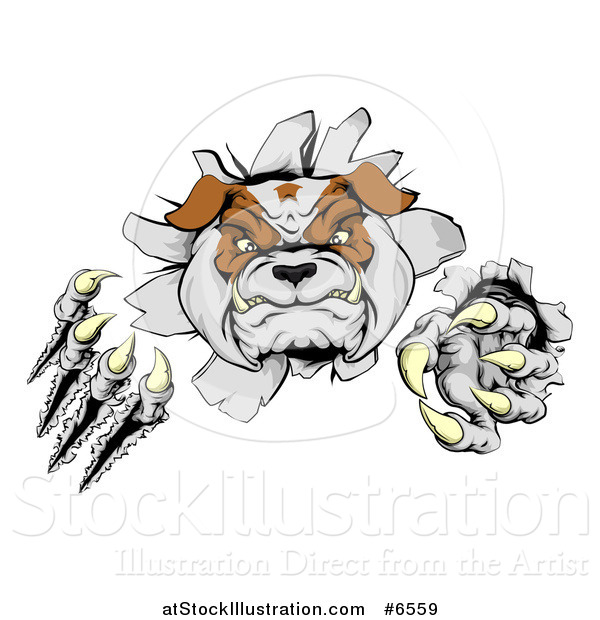 Vector Illustration of a Tough Bulldog Monster Clawing Through a Wall