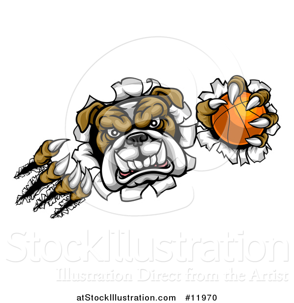 Vector Illustration of a Tough Bulldog Monster Shredding Through a Wall with a Basketball in One Hand