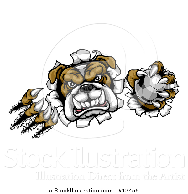 Vector Illustration of a Tough Bulldog Monster Shredding Through a Wall with a Soccer Ball in One Hand